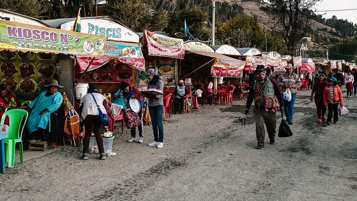 market stalls around Lake Titicaca in Copacabana bolivia
