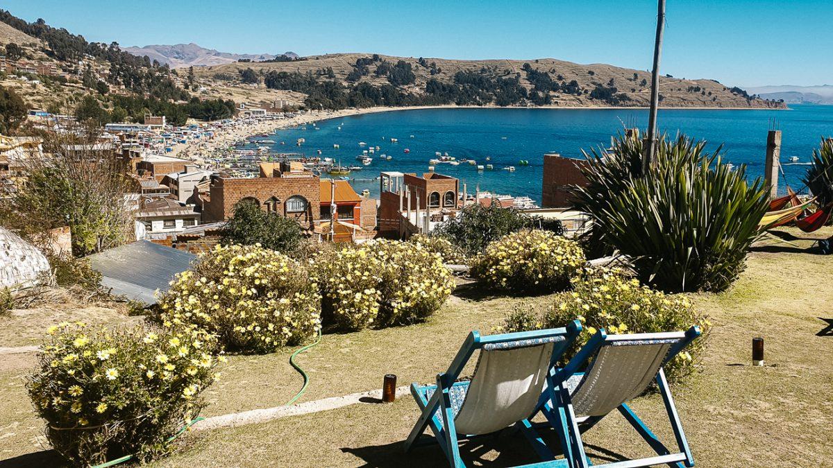 view of Lake Titicaca inn Copacabana bolivia