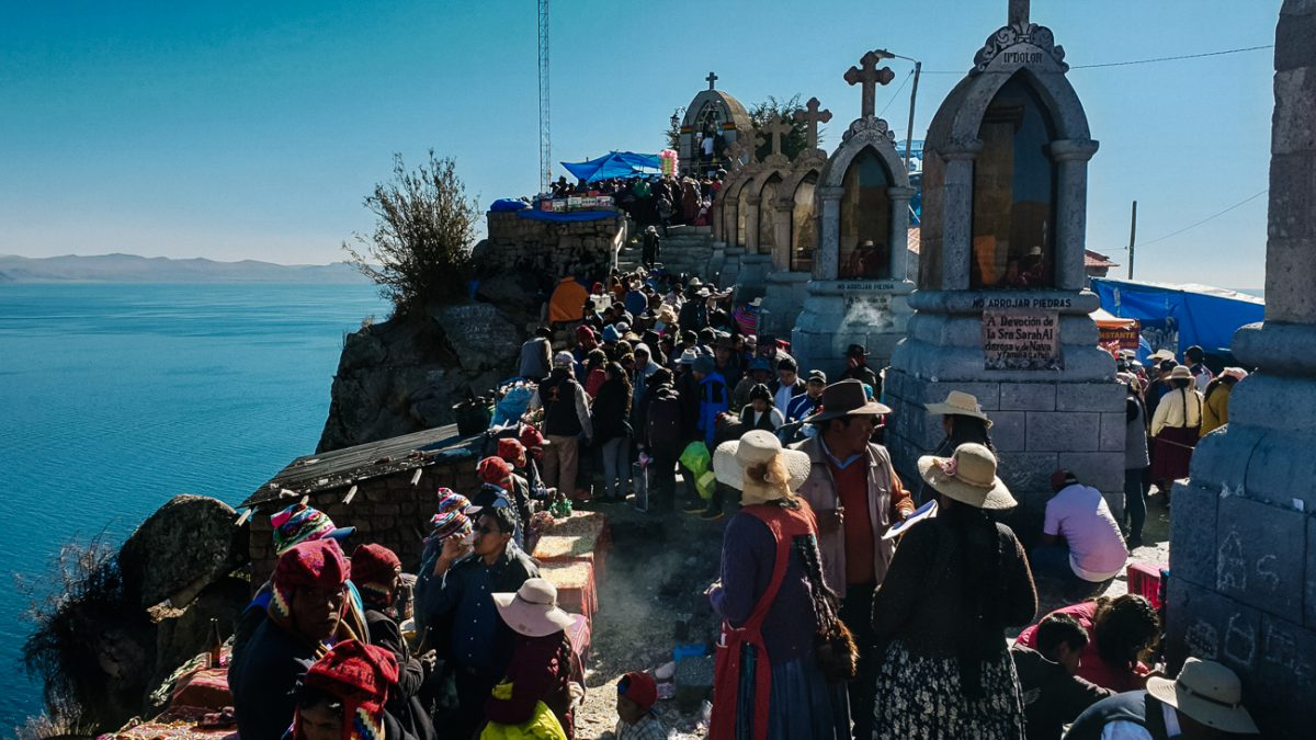 people waiting in line to honor the virgen in Copacabana Bolivia
