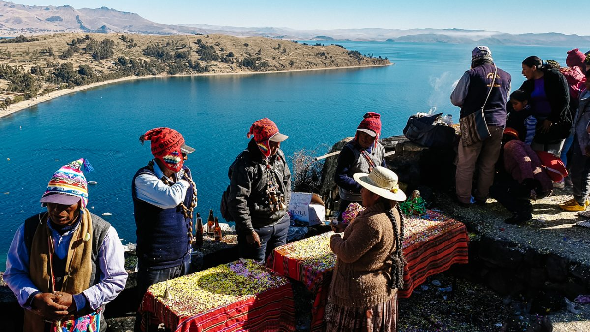 shamans on Cerro Calvario during Independence Day, one of the best things to do in Copacabana Bolivia