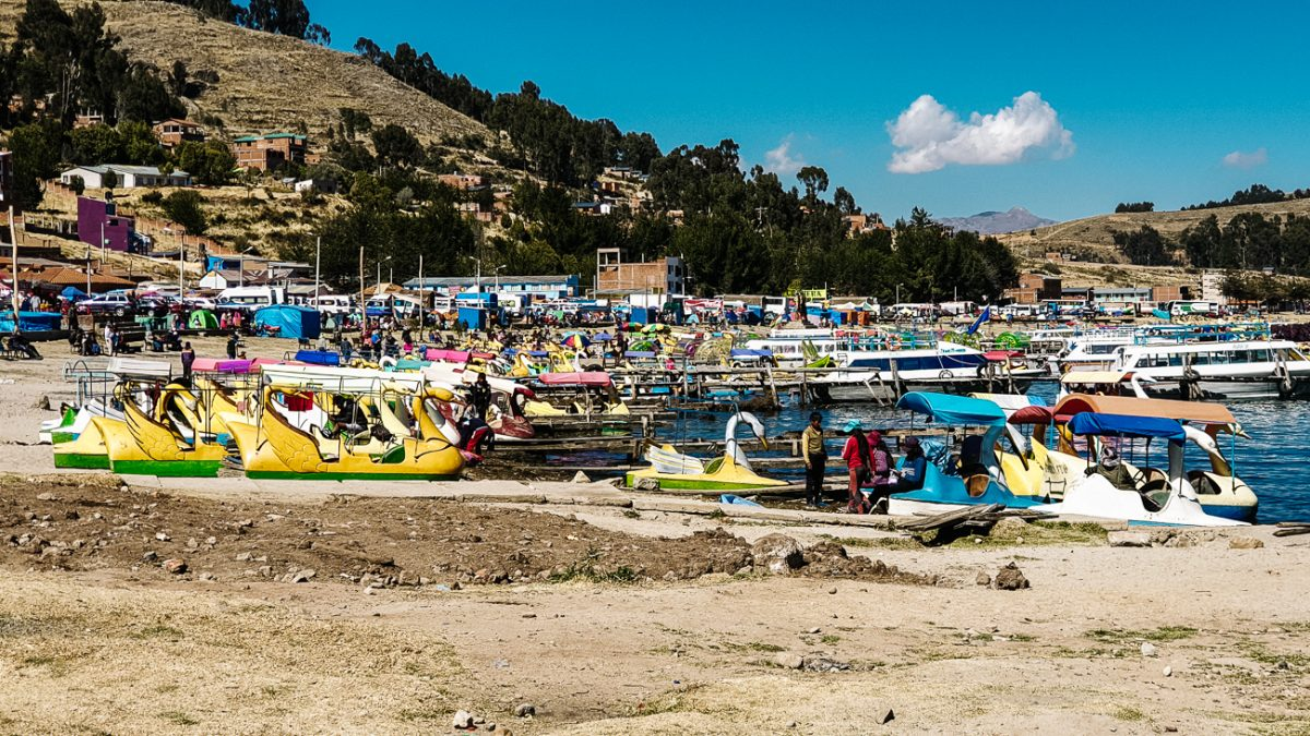 local boats at the shores of Lake Titicaca in Copacabana bolivia
