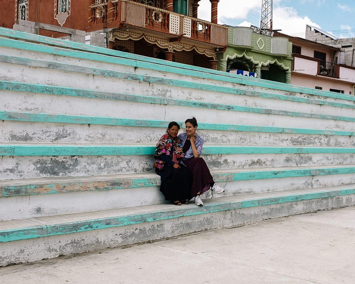 deborah with indigenous woman in zinacantan around San Cristobal de las Casas Mexico