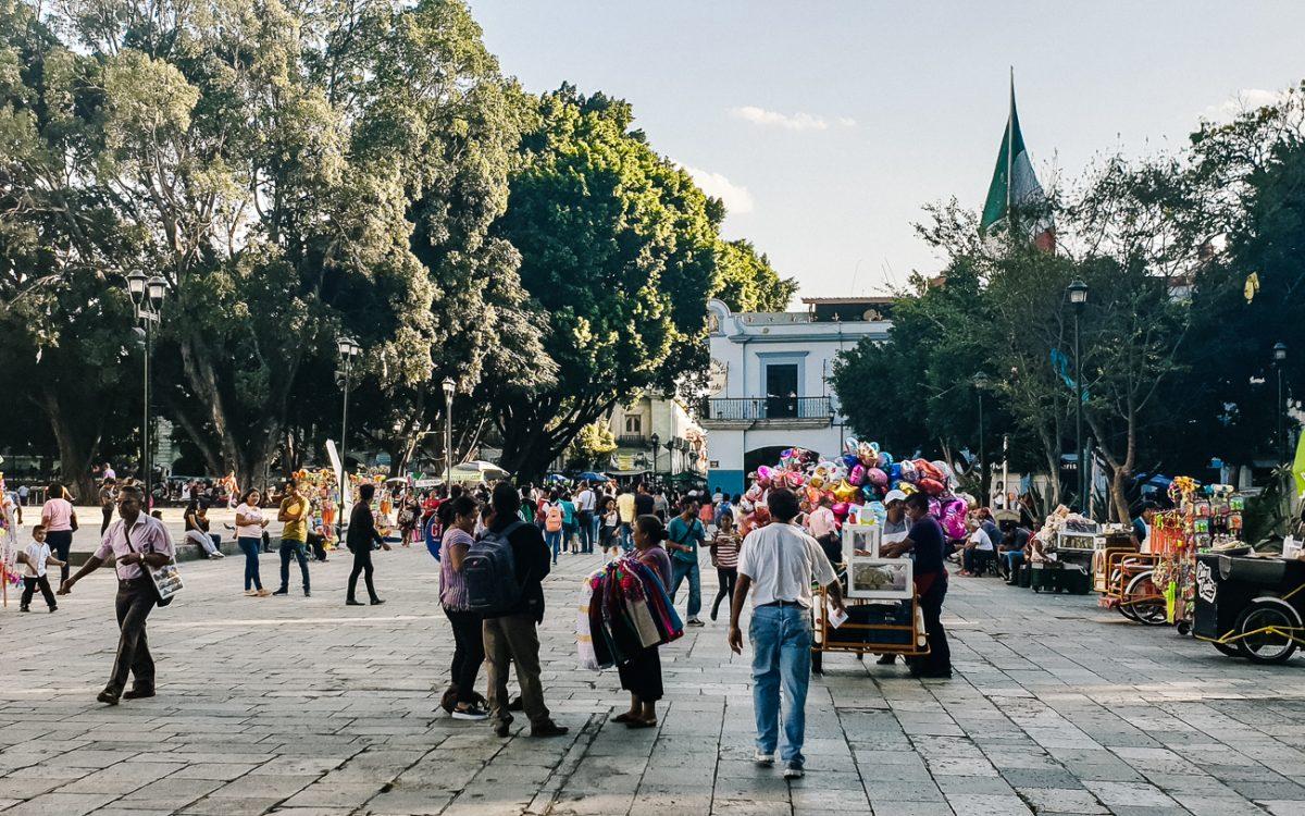 the central square in Oaxaca