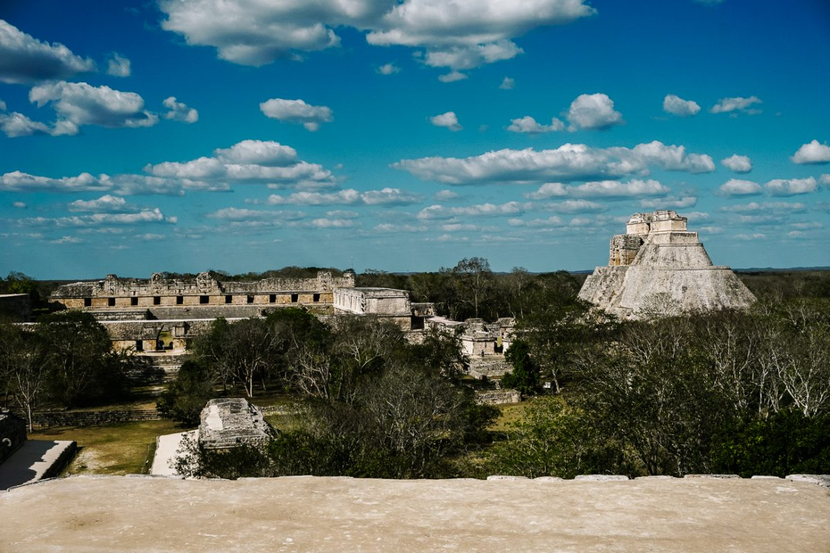 view of Uxmal, the famous mayan ruins near merida