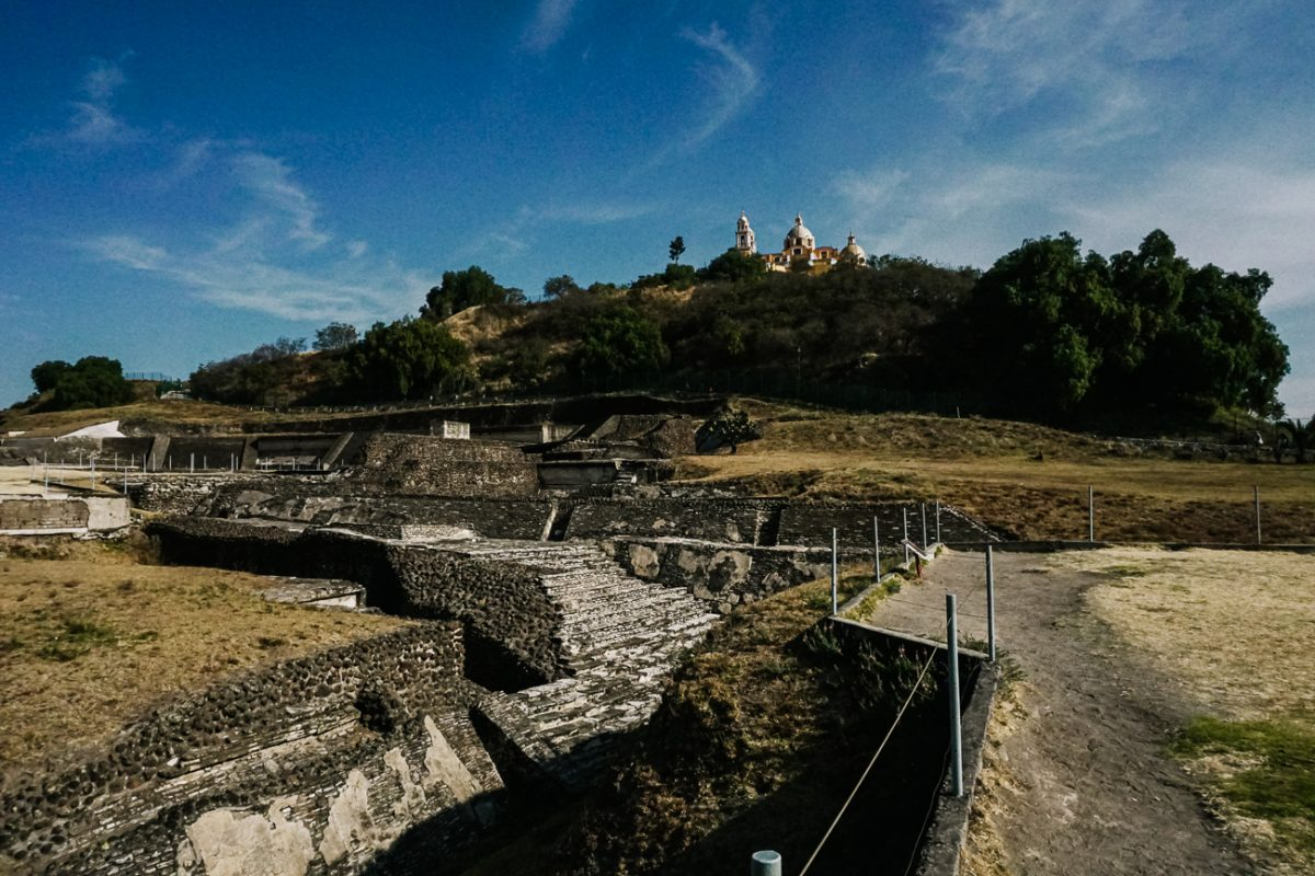 remains of Cholula,  the largest pyramid in the world with dimensions of 450 × 450 m