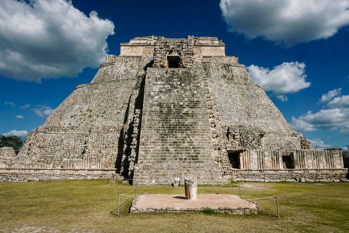 pyramid of the fortuneteller in Uxmal, mayan ruins near merida