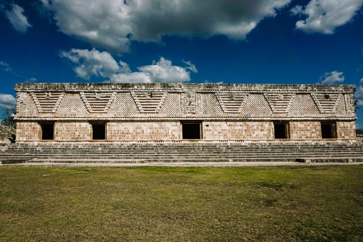 palace with mozaik work in Uxmal, the mayan ruins near merida