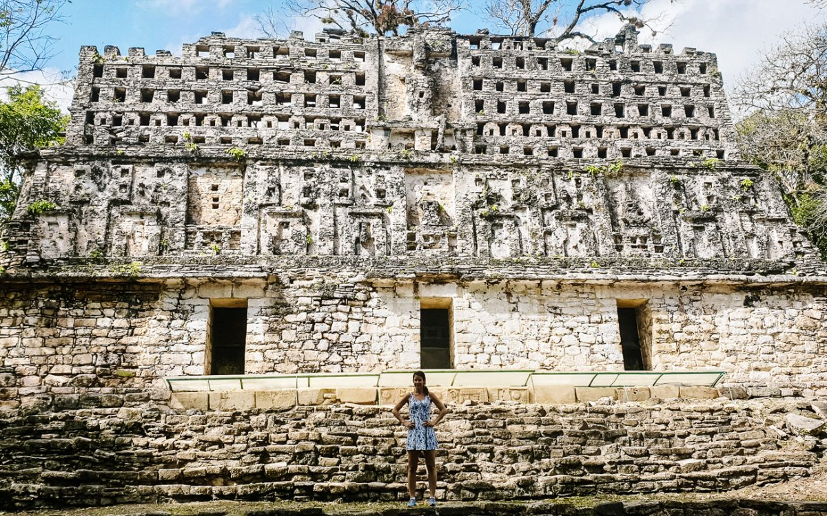 Deborah in front of Palacio del Rey in Yaxchilan, one of my tips for mexico if you are interested in history