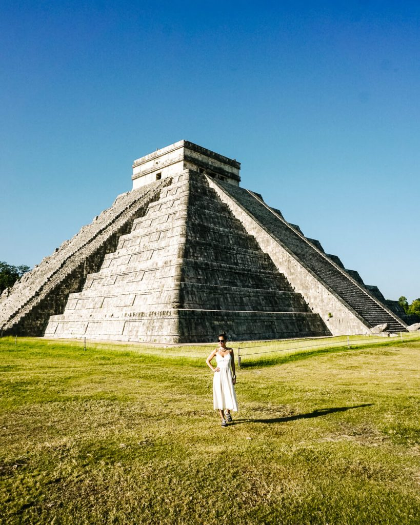 Deborah in front of temple Cuculkan in Chichen Itza,  one of my top tips for Mexico