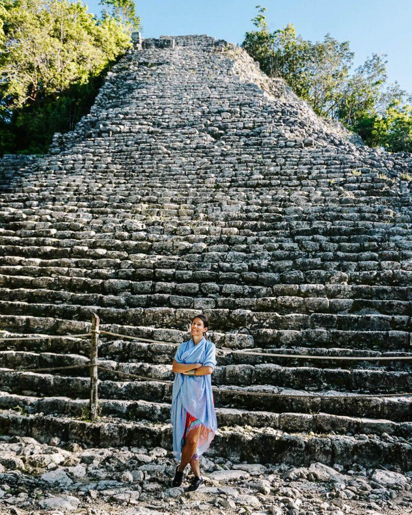 Deborah in front of pyramid at Coba, one of the Yucatan Mayan ruins
