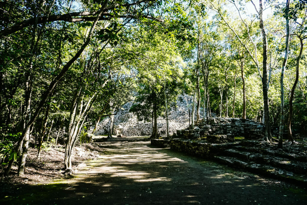 ruins at archaeological site and former maya city Cobá