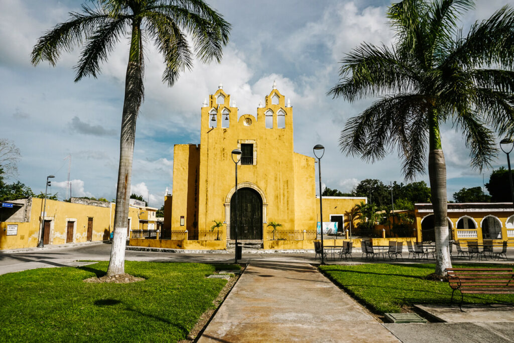yellow church in the city Izamal, one of my top tips for a trip to Yucatan Mexico