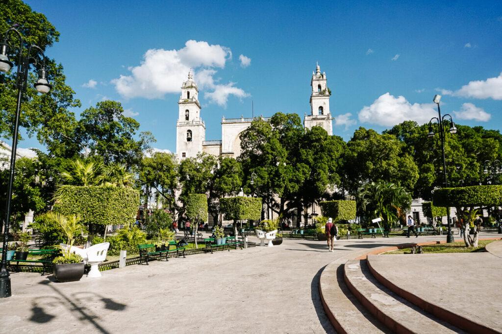 central plaza in Merida