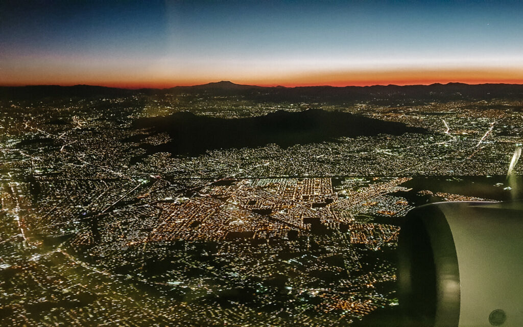 airplane view of mexico city