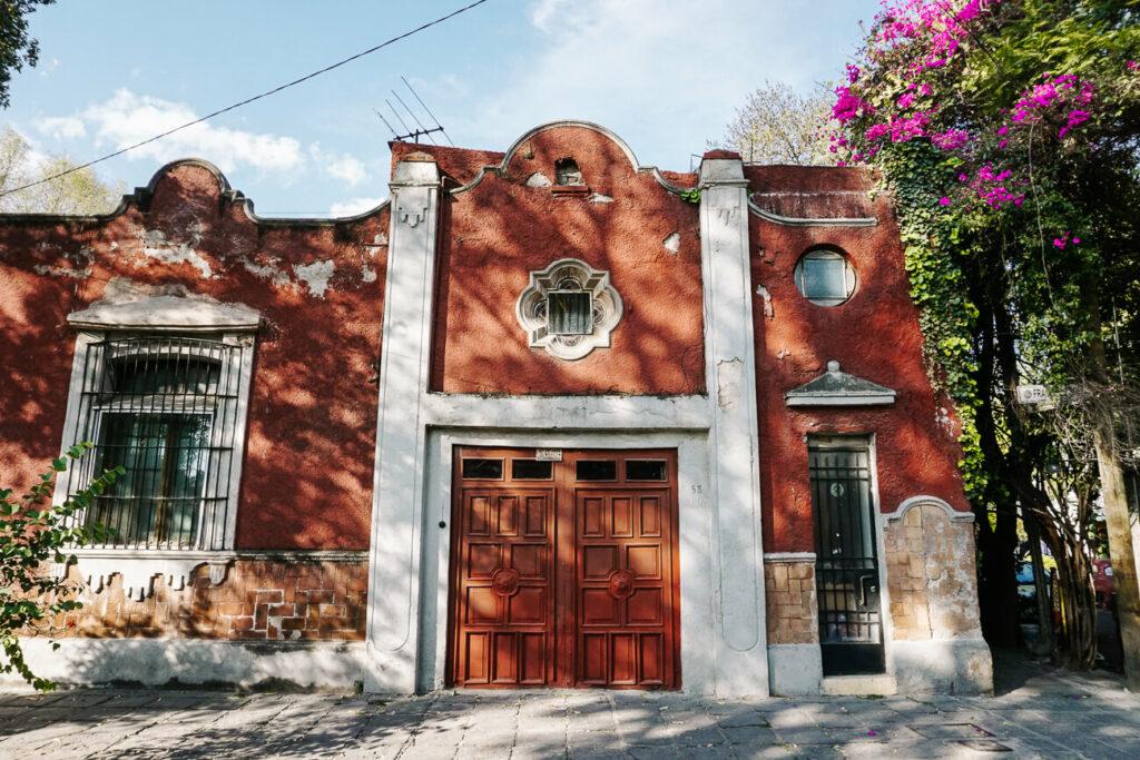 beautiful buildings in neiighborhood coayacan in mexico stad
