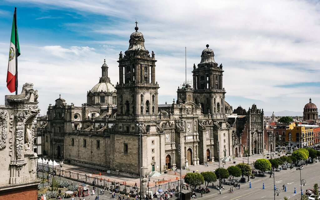 view of the plaza central in Mexico city