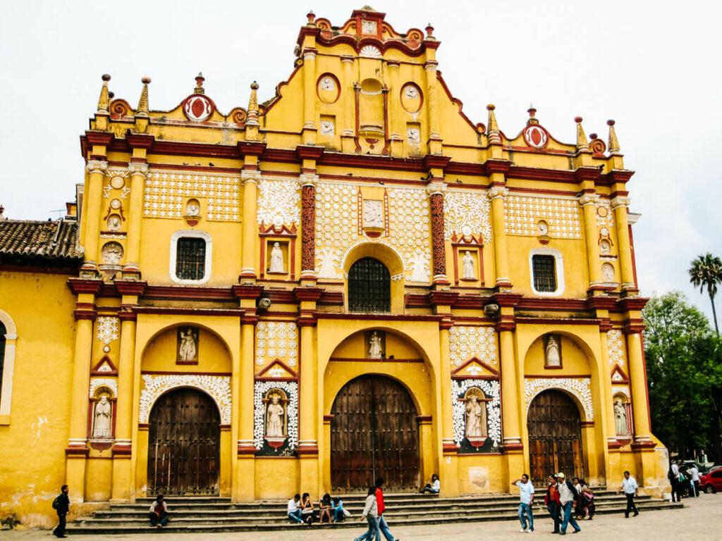 yellow church, one of the attractions in San cristobal de las casas, Chiapas Mexico