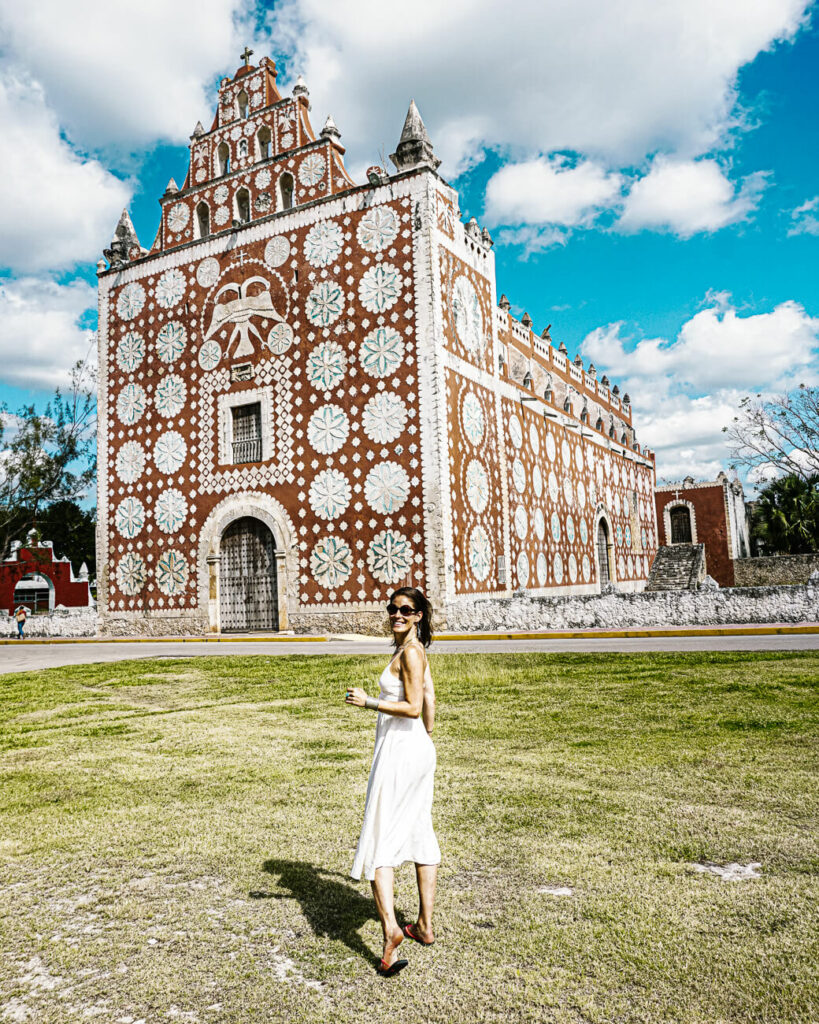 Deborah in front of Uayma church, one of the best things to do in valladolid mexico