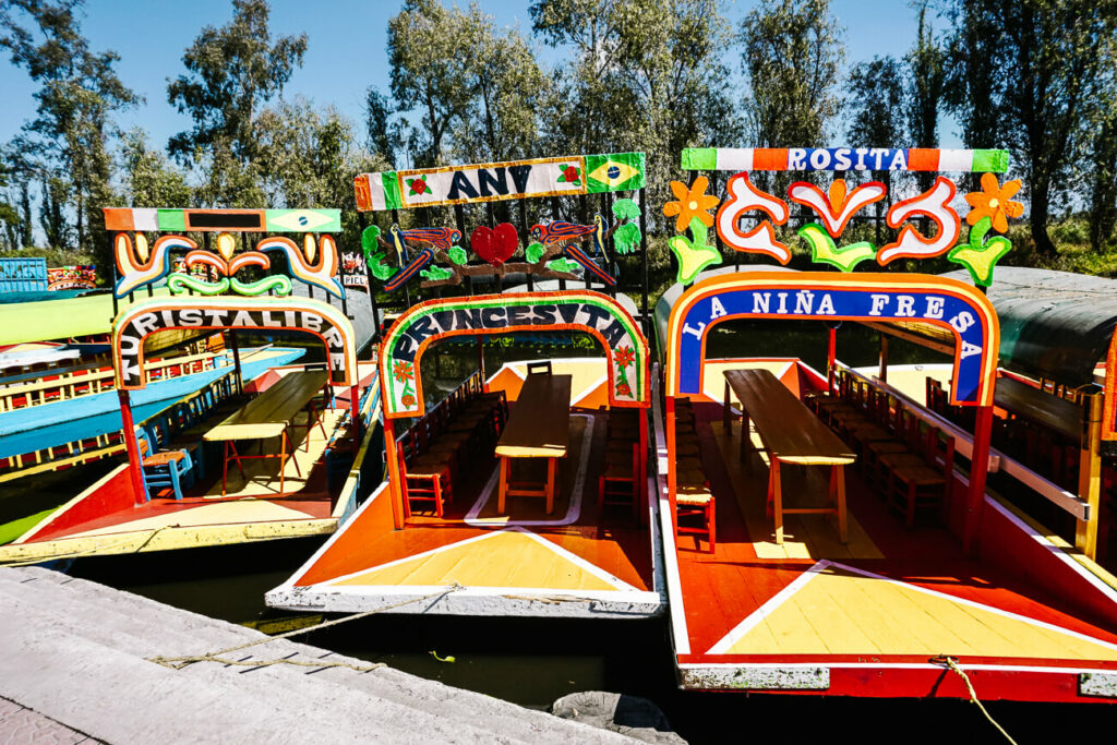 boats in xochimilco, one of the top attractions in Mexico City
