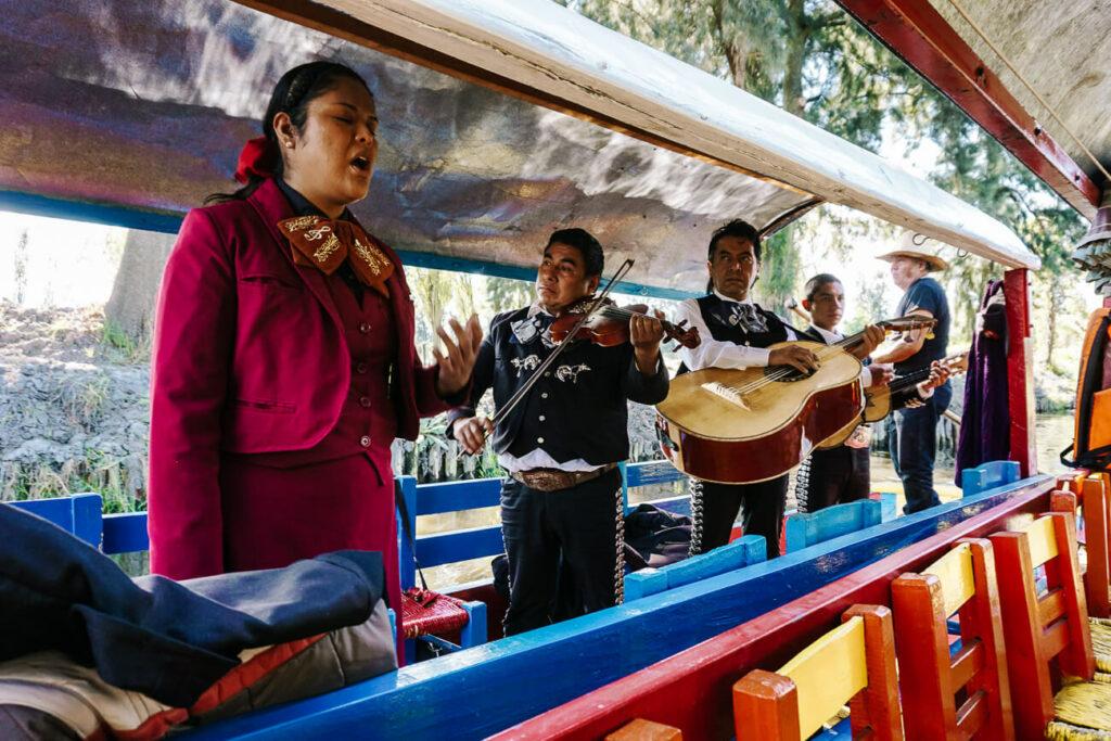 singing mariachi in xochimilco boat