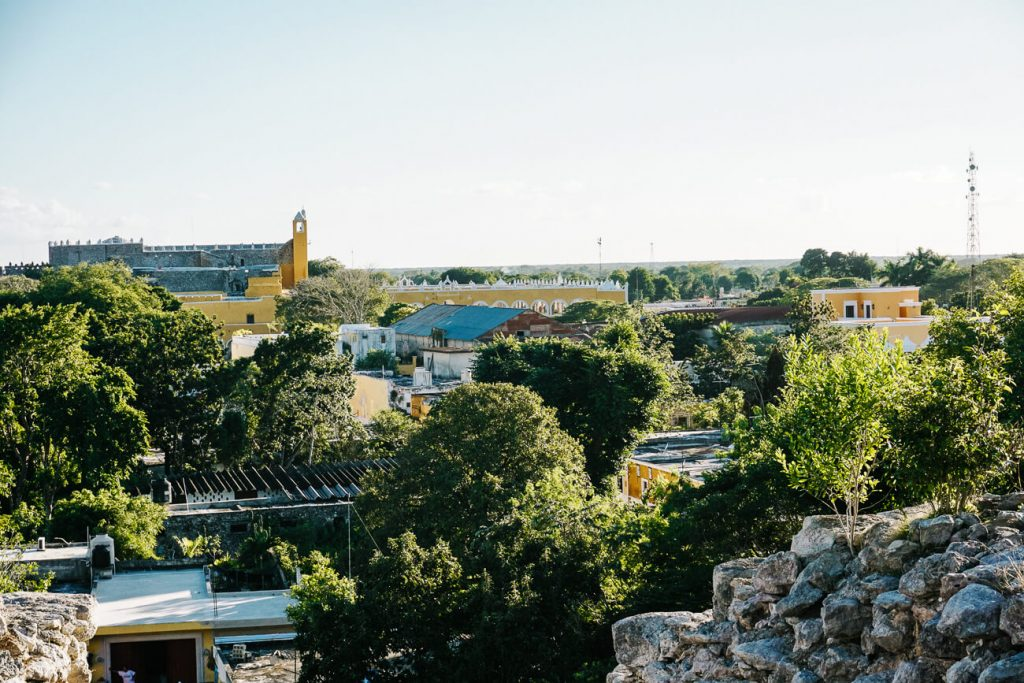 enjoy the view from mayan temple of the yellow city,  one of the best things to do in Izamal Mexico