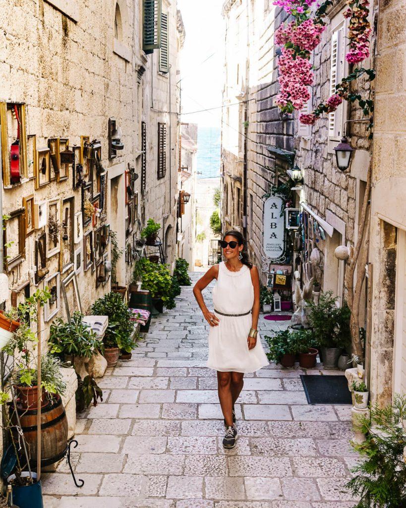 straatjes in Korcula, Dalmatische kust Kroatie