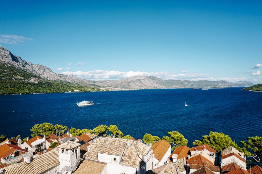 uitzicht vanaf klokkentoren in Korcula Kroatie