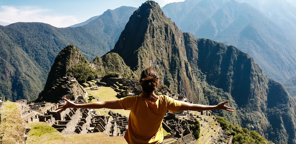 Deborah enjoying view of Machu Pichu
