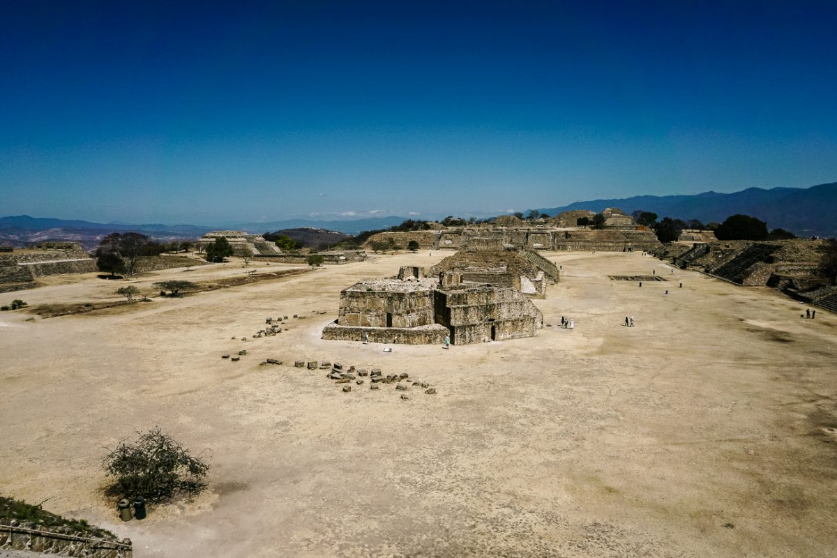 The central plaza, ruins near Oaxaca