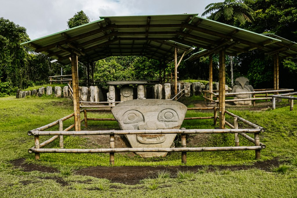 terraces with statues of the San Agustin archaeological park in Colombia