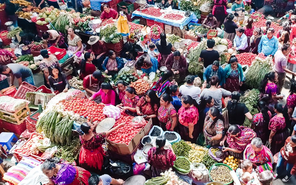 fruit and vegetable market in Guatemala