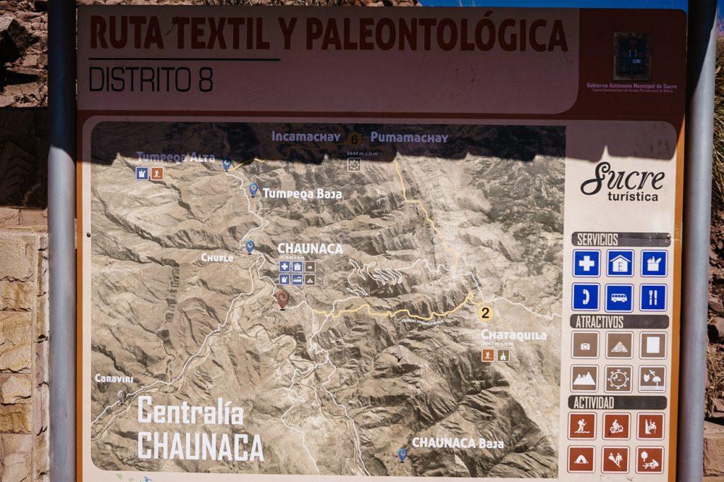 map of Inca trail in Bolivia