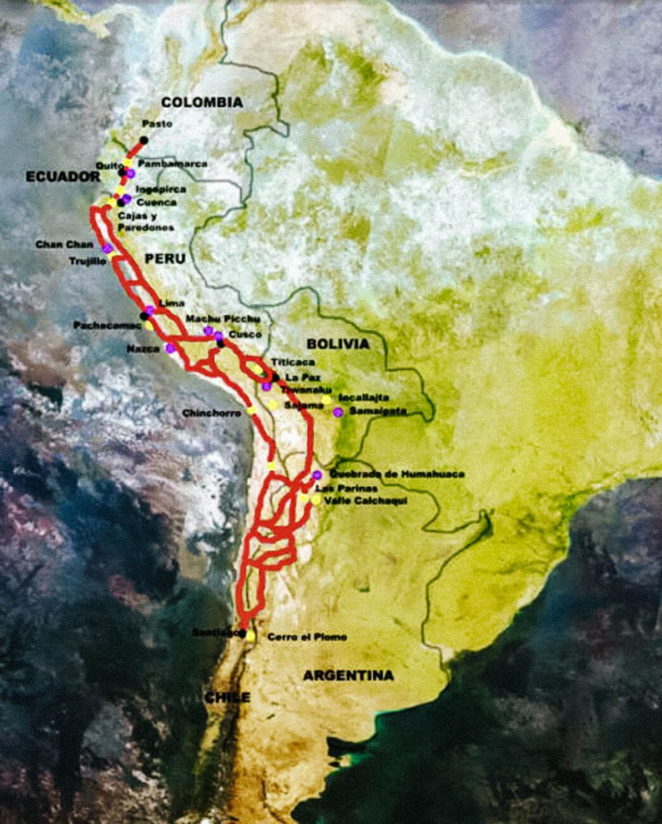 map of Inca trails in South America