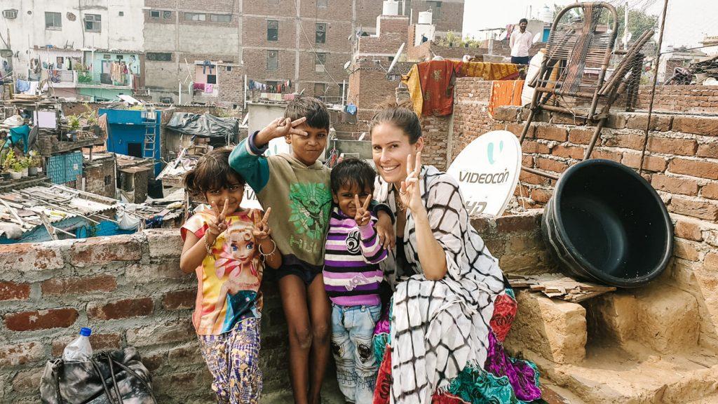 Deborah with Indian chhildren