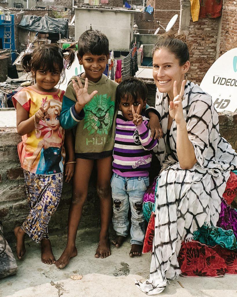 Indian kids with Deborah