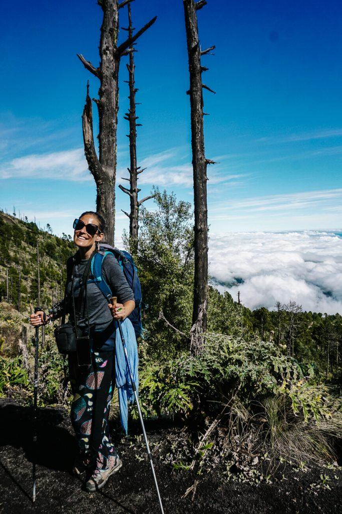 Deborah during Acatenango hike in Guatemala