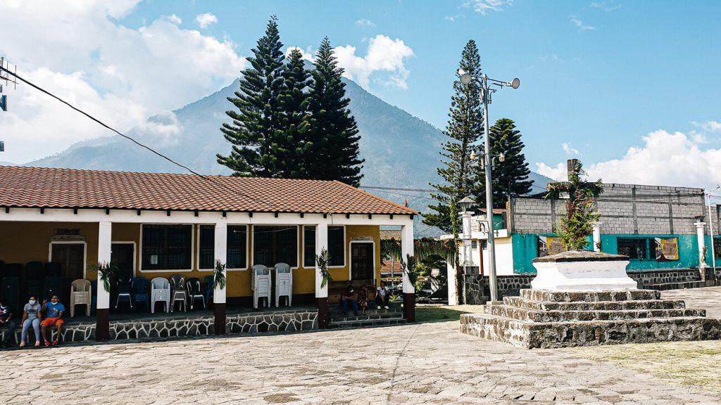 view from plaza in Santiago de atitlan