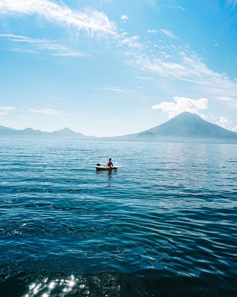 woman in Kayak  - activity part of the Lake Atitlan travel guide