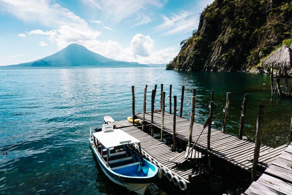 boats at jetty - main transportation around Lake Atitlan Guatemala