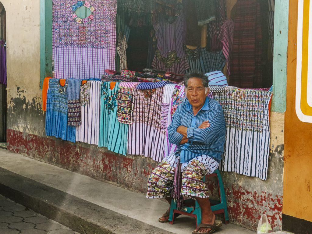 man at market in Santiago de Atitlan Guatemala