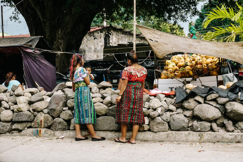 women in front of market stall in San Marcos