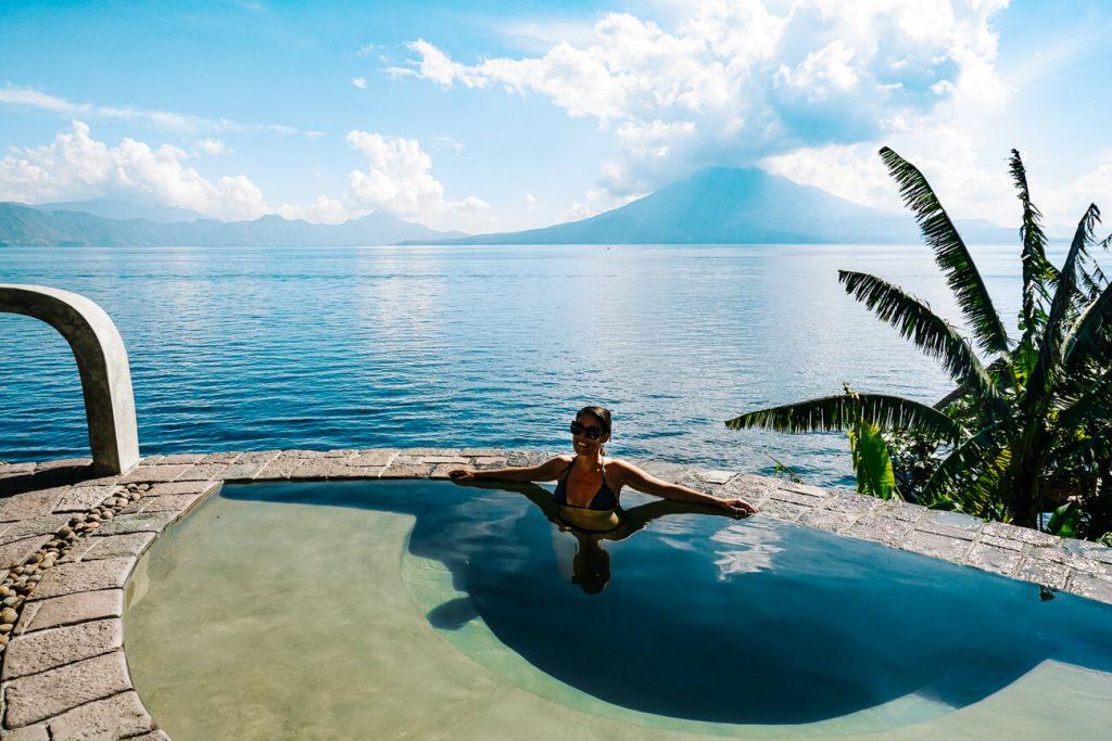woman in infitiny pool Lake Atitlan