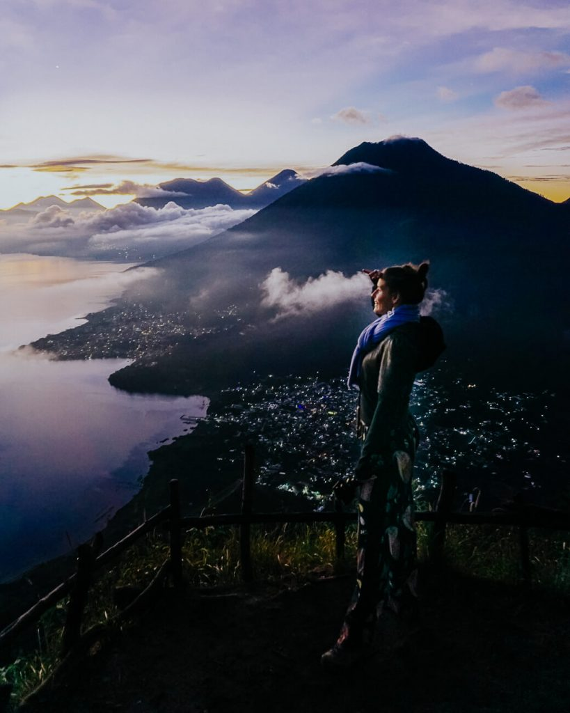 sunrise from Indian Nose viewpoint, one of the best things to do at Lake Atitlan
