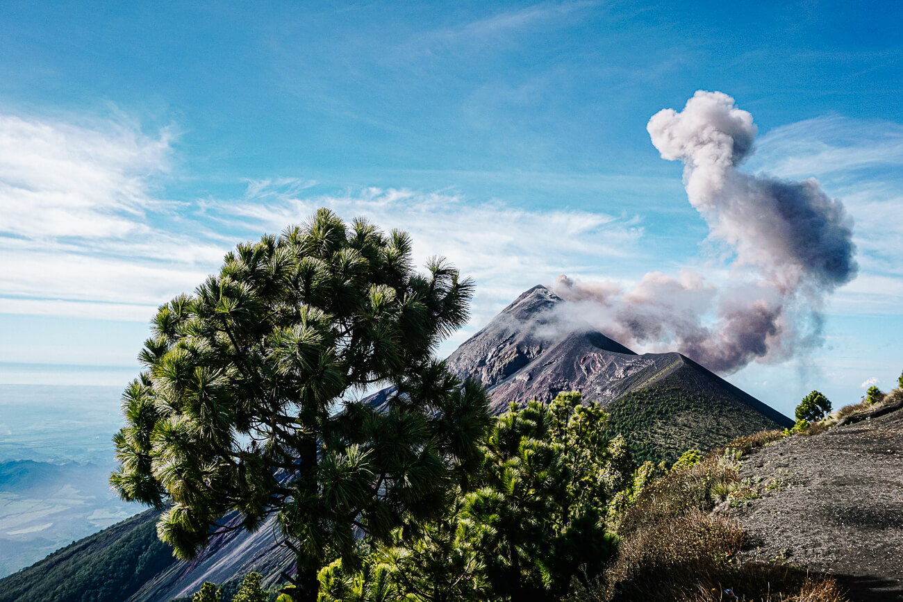 view of Fuego volcano | during the Acatenango volcano hike