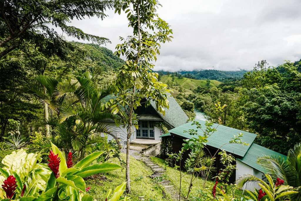 hotel surrounded by greenery in Lanquin