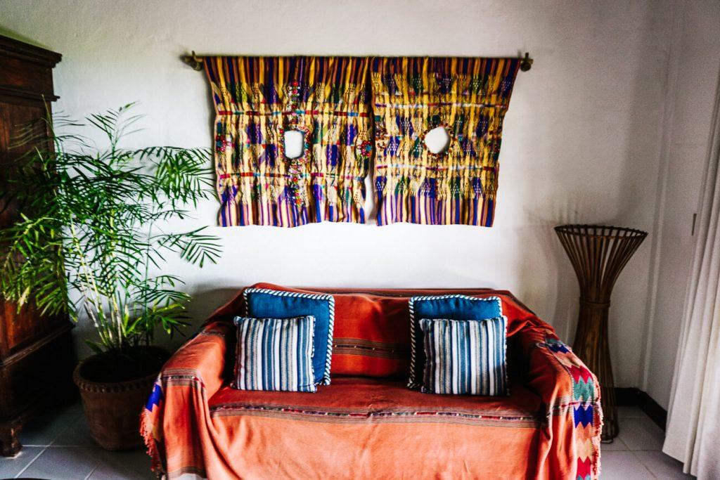 livingroom at La Lancha resort in Guatemala